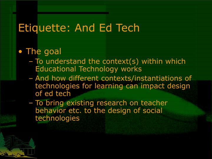 Etiquette: And Ed Tech