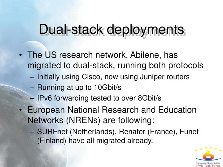 Dual-stack deployments