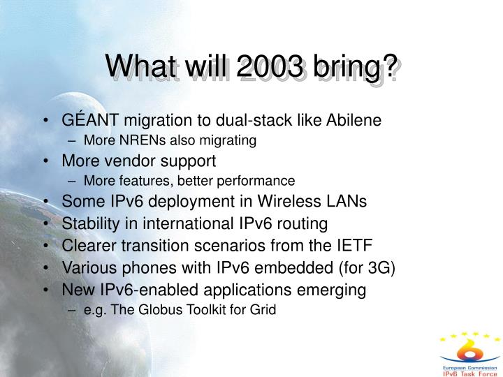 What will 2003 bring?