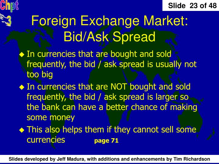 Foreign Exchange Market: Bid/Ask Spread