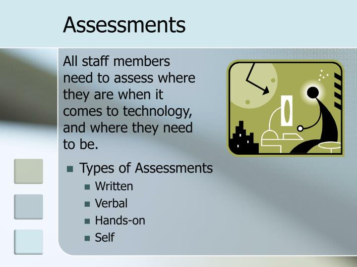 All staff members need to assess where they are when it comes to technology, and where they need to be.