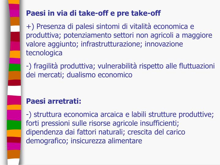 Paesi in via di take-off e pre take-off