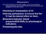manipulating the iv