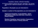 population sample random sampling