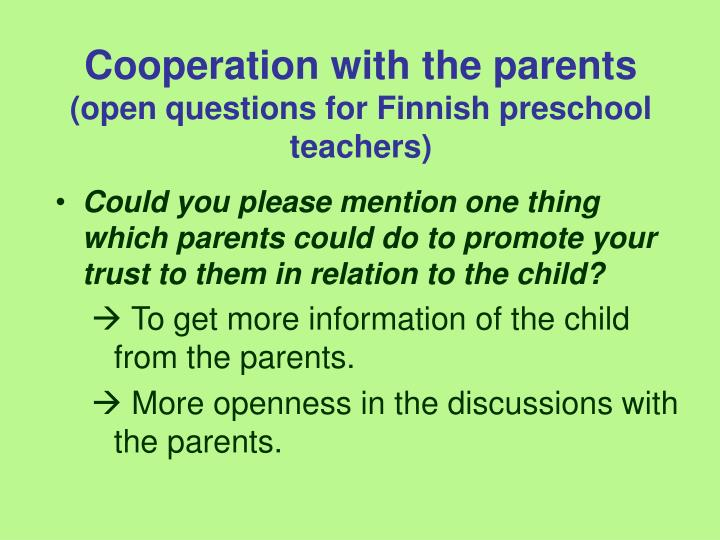 Cooperation with the parents