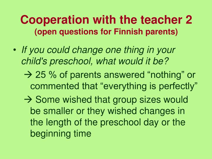 Cooperation with the teacher 2