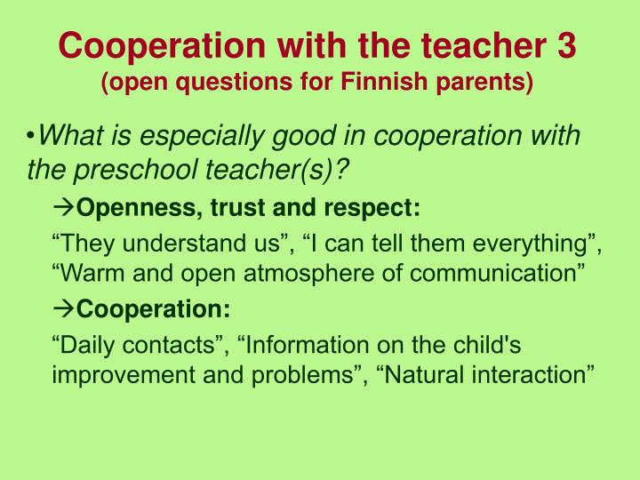 Cooperation with the teacher 3
