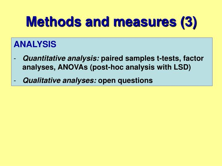 Methods and measures (3)