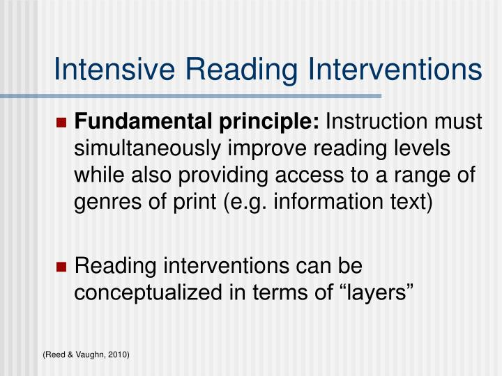 Intensive Reading Interventions