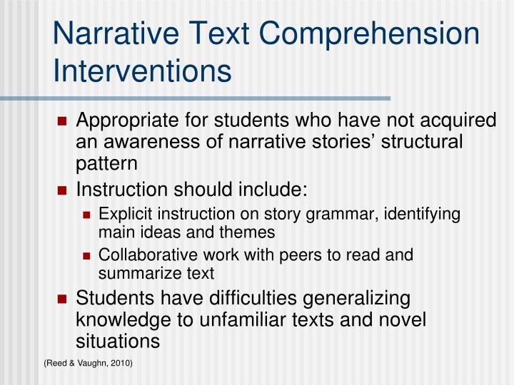 Narrative Text Comprehension Interventions