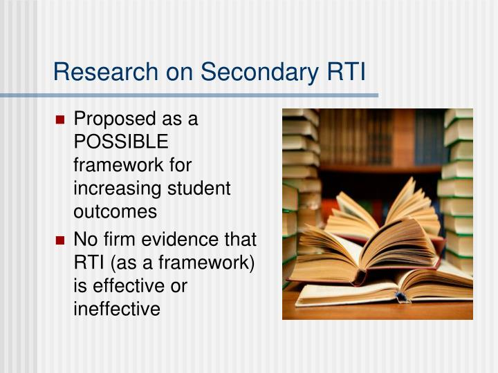 Research on Secondary RTI