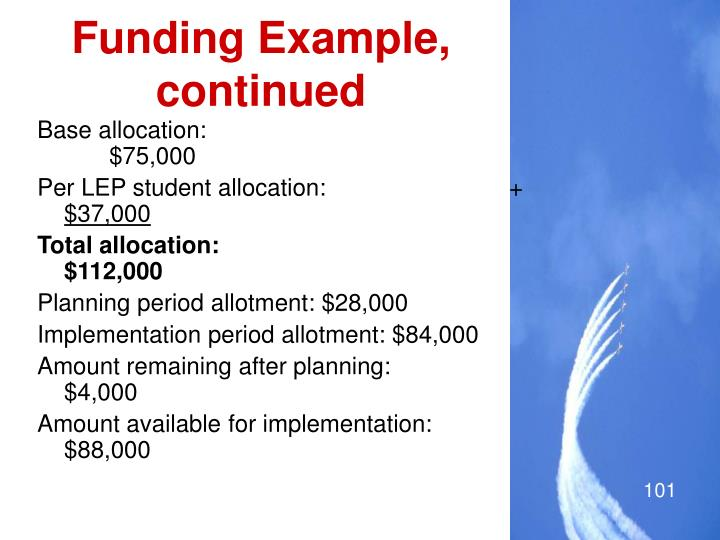 Funding Example, continued