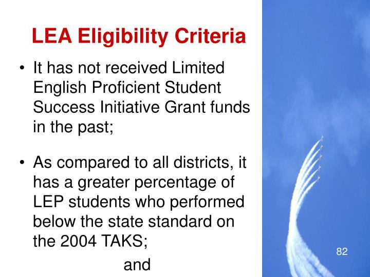 LEA Eligibility Criteria