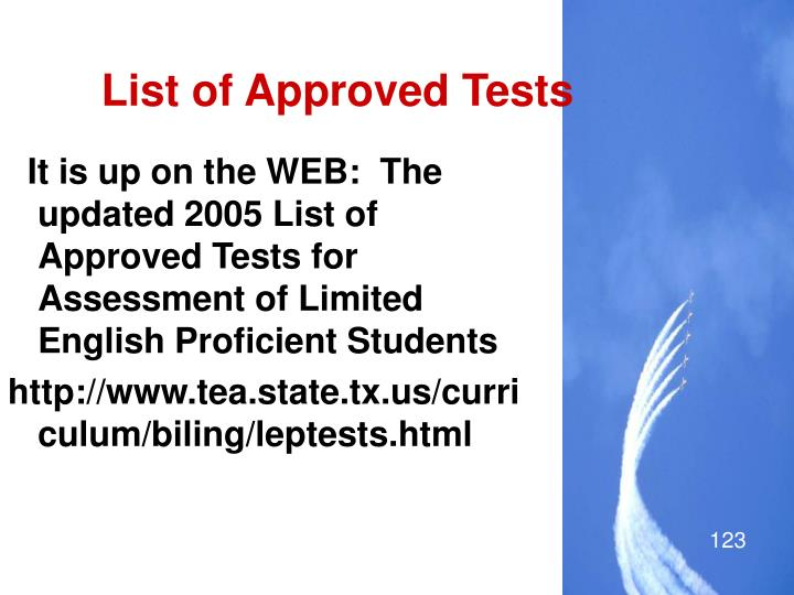 List of Approved Tests