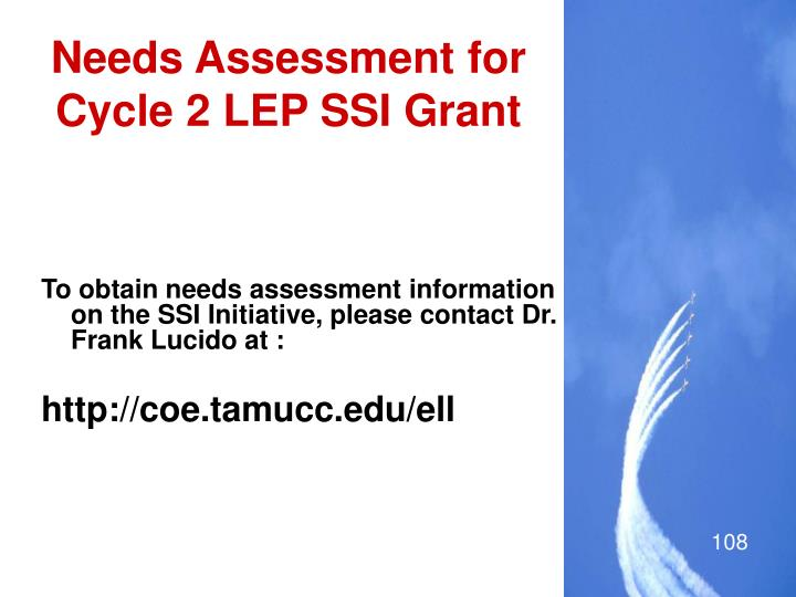 Needs Assessment for Cycle 2 LEP SSI Grant
