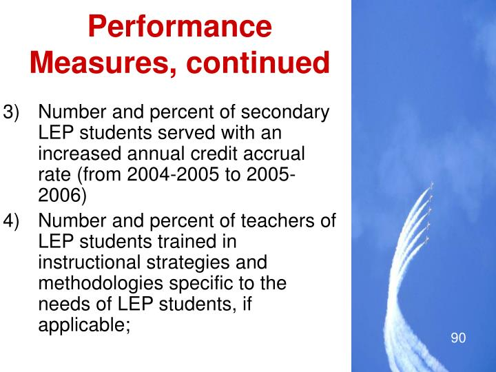 Performance Measures, continued