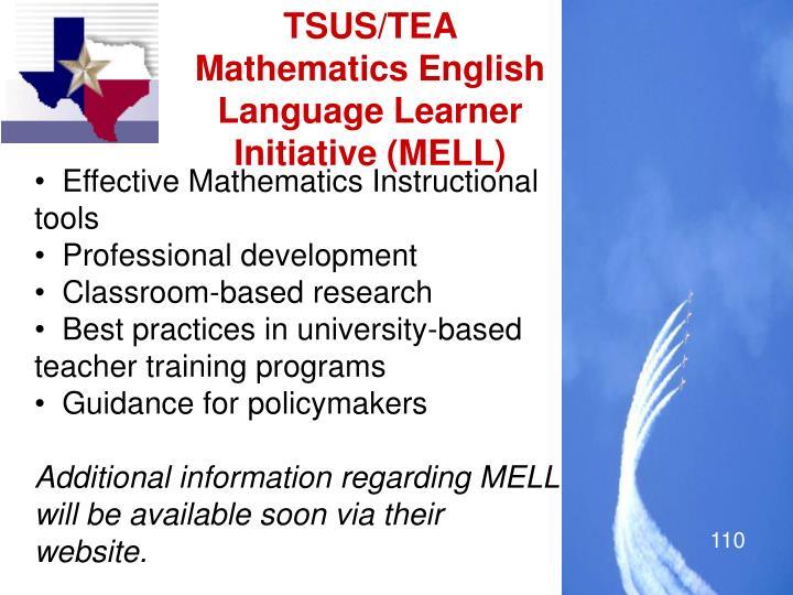 TSUS/TEA Mathematics English Language Learner Initiative (MELL)