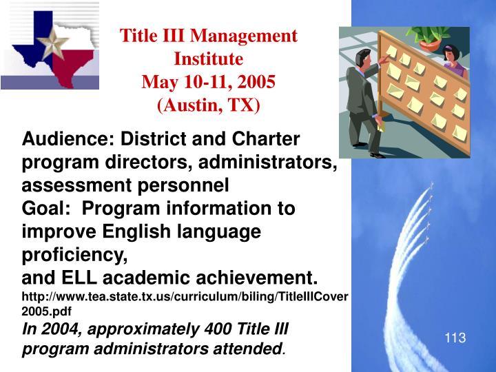 Title III Management Institute