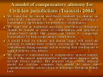 a model of compensatory alimony for civil law jurisdictions tsaoussis 2004