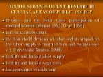 major strands of l e research crucial areas of public policy