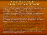 same sex couples a law econ approach