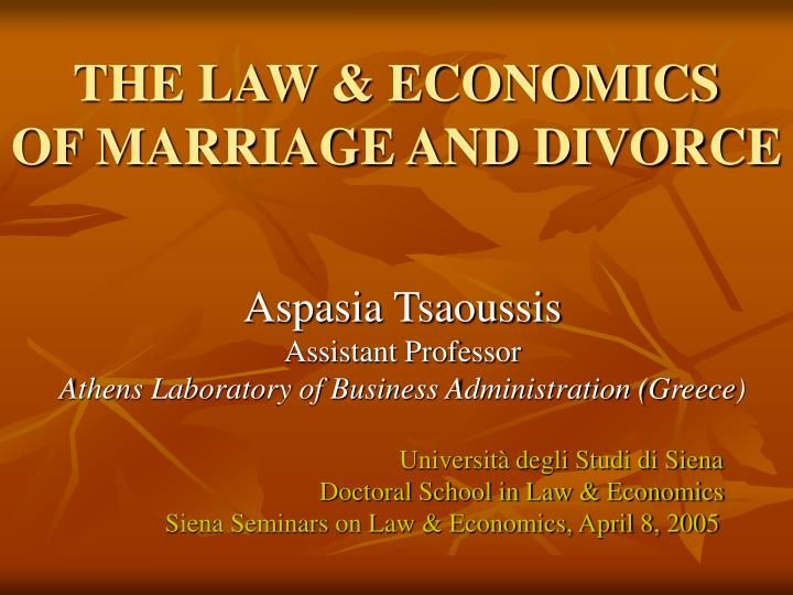 the law economics of marriage and divorce n.