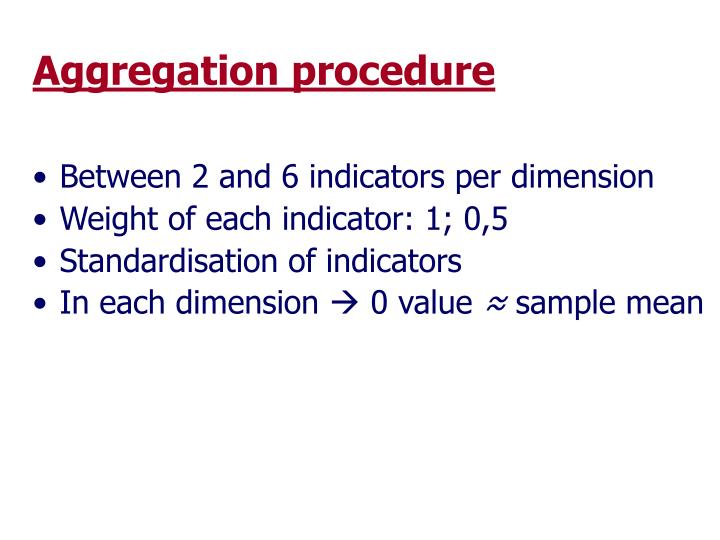 Aggregation procedure