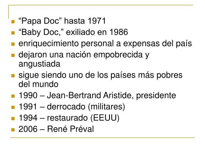 """""""Papa Doc"""" hasta 1971"""