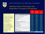 imminent issues of newcomers and respondents perception of preparation