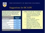 suggestions for bcasw