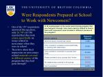 were respondents prepared at school to work with newcomers