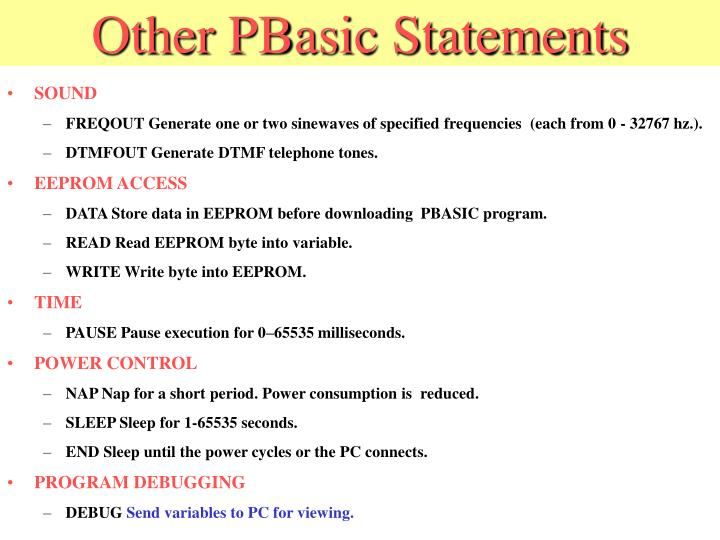 Other PBasic Statements
