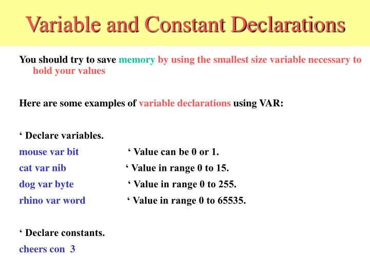 Variable and Constant Declarations