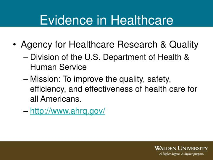 Evidence in Healthcare