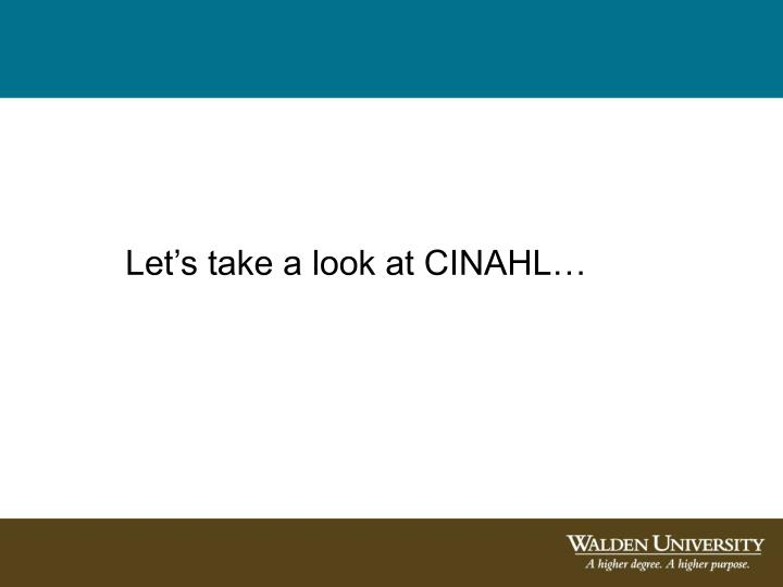 Let's take a look at CINAHL…