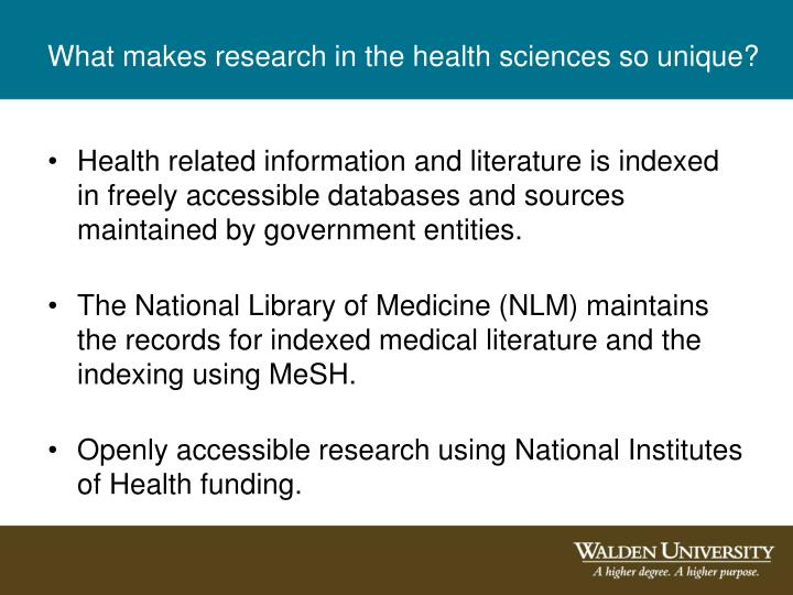 What makes research in the health sciences so unique?