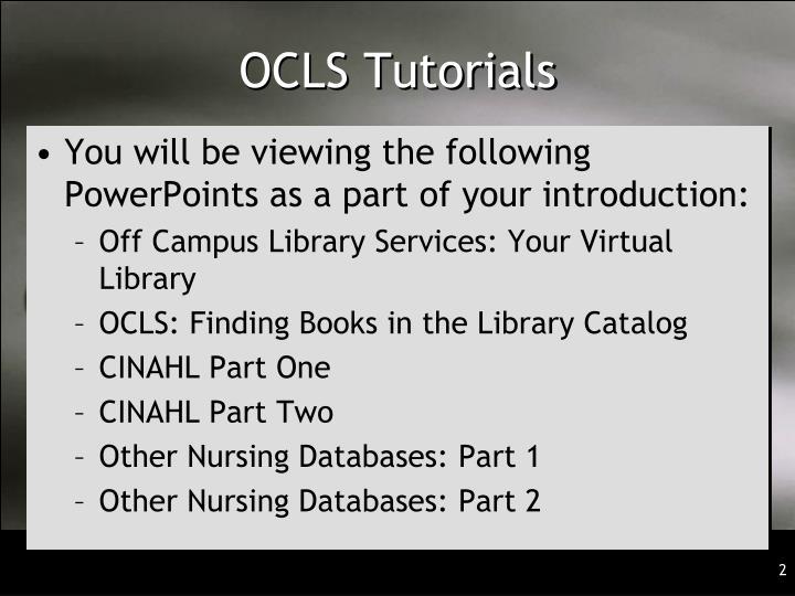 Ocls tutorials
