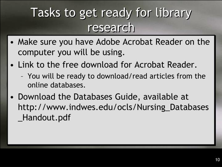 Tasks to get ready for library research
