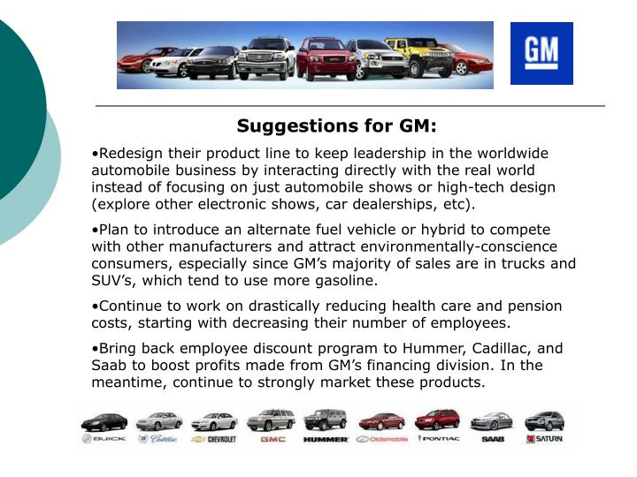 Suggestions for GM: