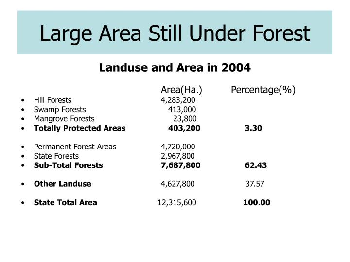 Large Area Still Under Forest