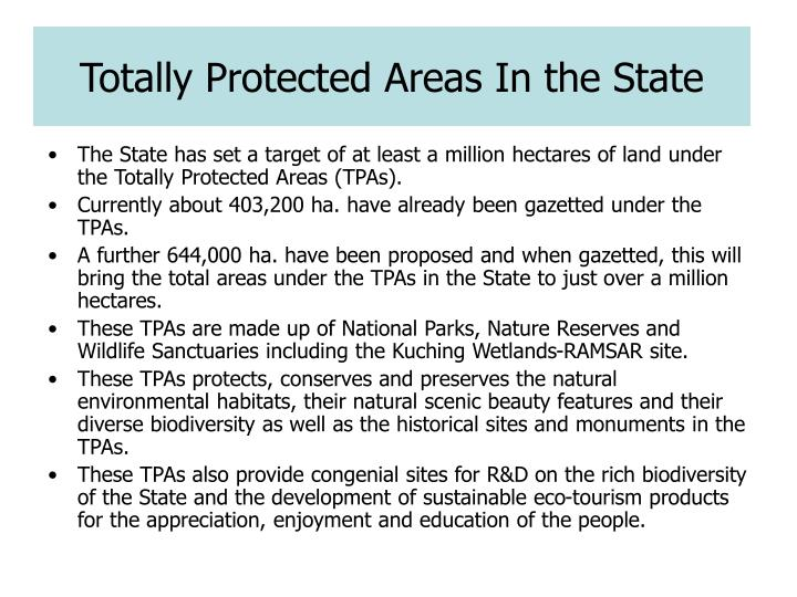 Totally Protected Areas In the State