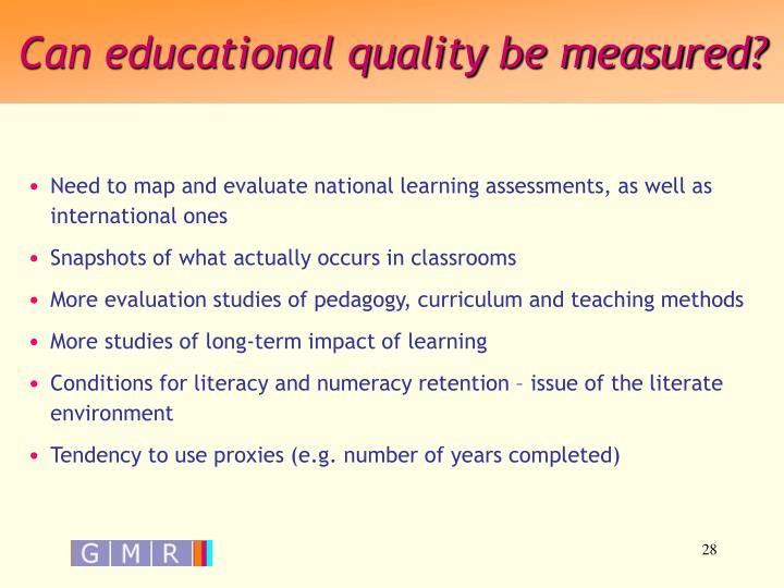 Can educational quality be measured?