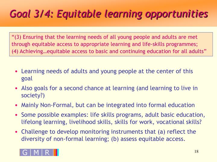 Goal 3/4: Equitable learning opportunities