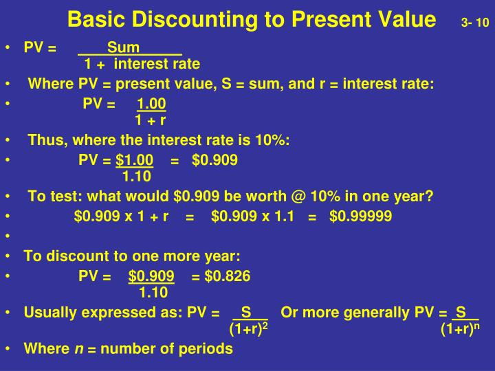 Basic Discounting to Present Value
