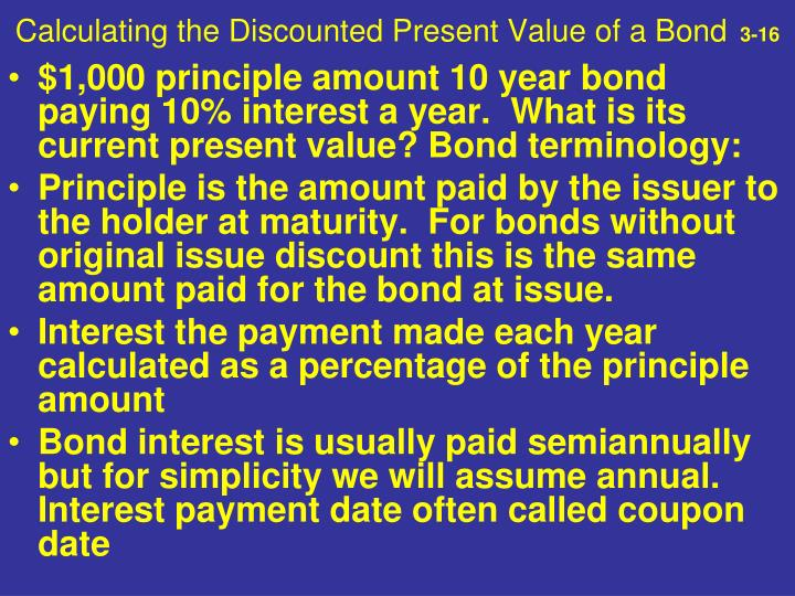 Calculating the Discounted Present Value of a Bond