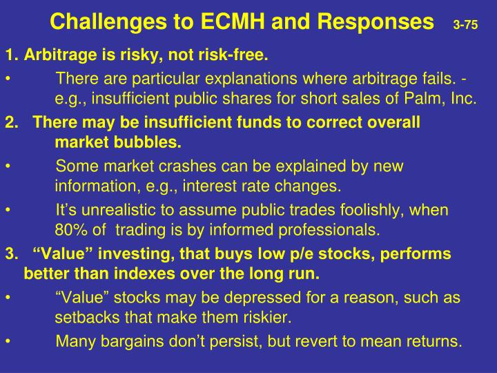 Challenges to ECMH and Responses