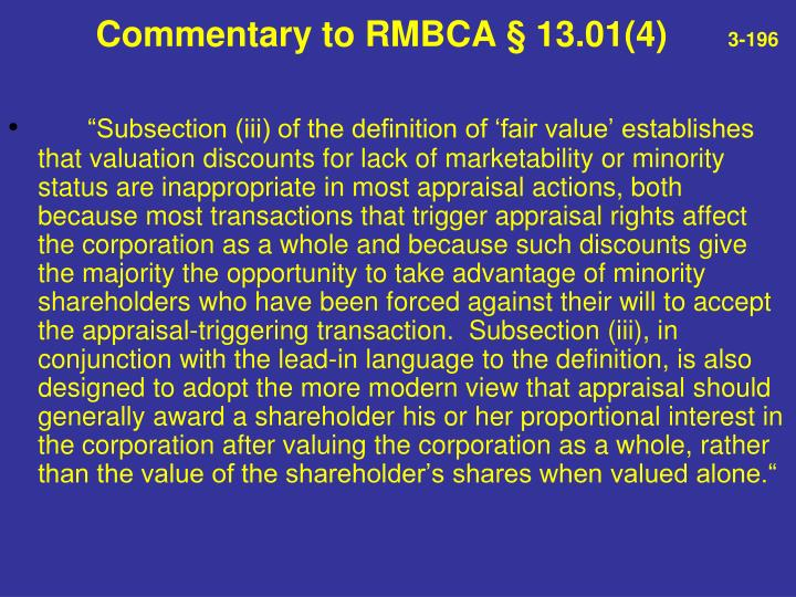 Commentary to RMBCA