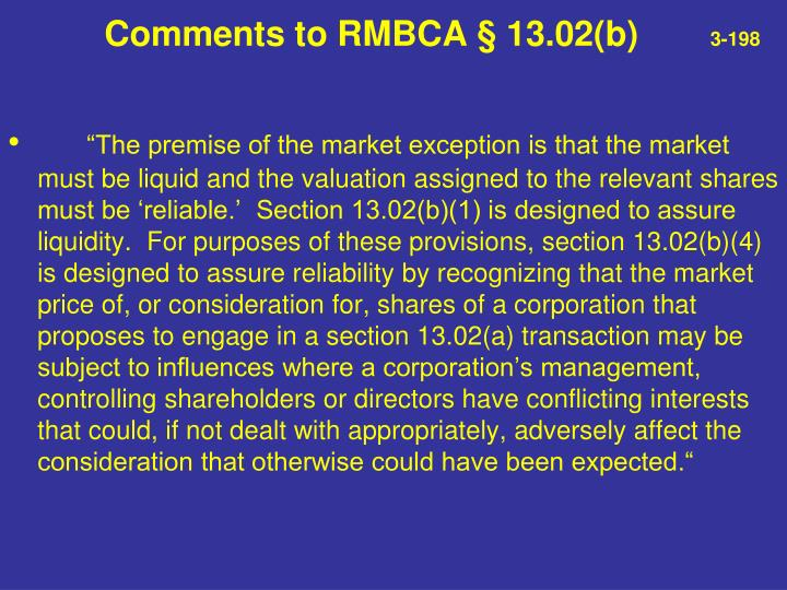 Comments to RMBCA