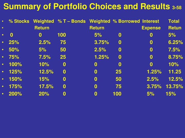 Summary of Portfolio Choices and Results