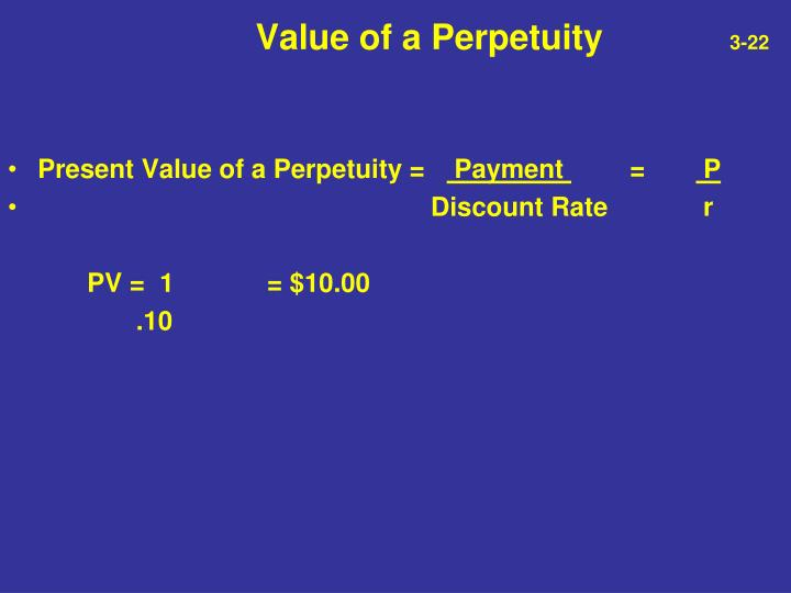 Value of a Perpetuity